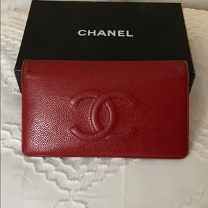 Chanel Red Caviar CC bifold wallet